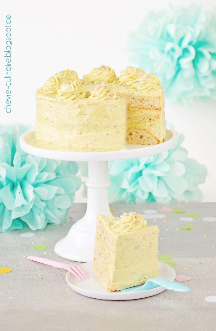 Chèvre culinaire: [Rezept : Das doppelte Geburtstagstörtchen] Pistazientorte - Knuspergeburtstagsgruß fürs Knusperstübchen
