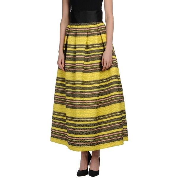 Nora Barth Long Skirt ($91) ❤ liked on Polyvore featuring skirts, yellow, jacquard skirt, yellow skirt, colorful maxi skirts, brown maxi skirt and pleated maxi skirt