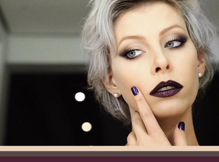Sombra violeta + batom violeta