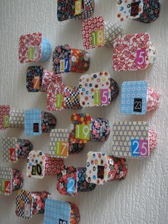 Yogurt pot Advent Calendar Gloucestershire Resource Centre http://www.grcltd.org/scrapstore/
