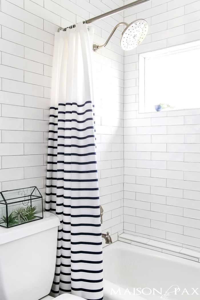 Navy And White Bathroom With Brass And Wood Accents Find Out Where