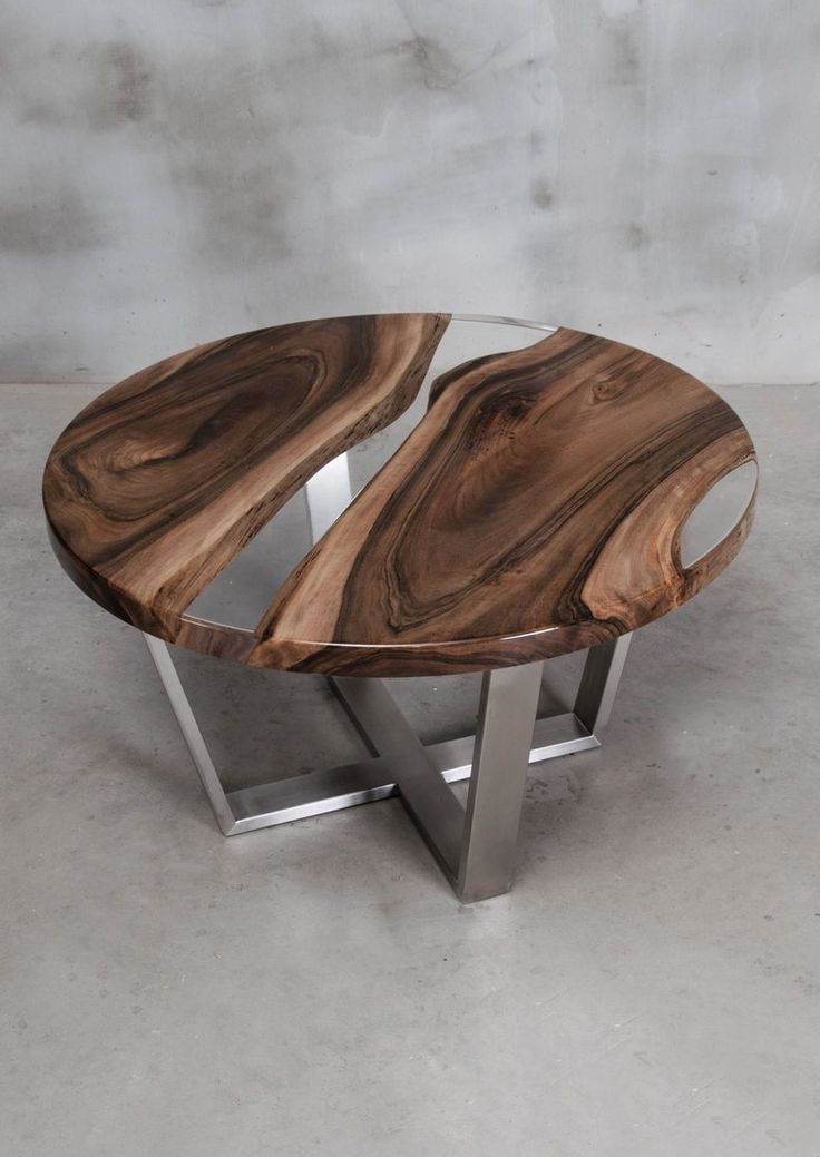 Custom Resin Table Made Of European Walnut Round Live Edge Table With Transparent Uv Resin Epoxy Table With Brushed Steel Legs In 2020 Resin Table Wood Table Design Live Edge Table