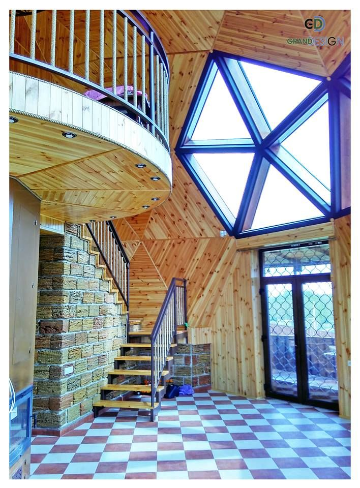 Love the pentagonal window as the focal point and stairs right by the door