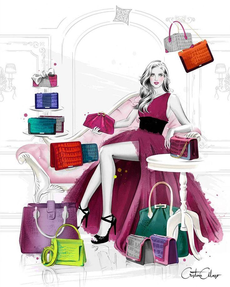 Cristina Alonso illustration for Ana Leena handbags