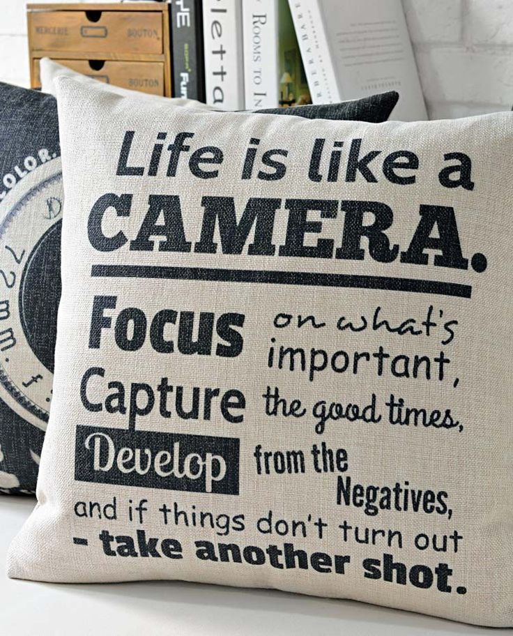 """Vintage Camera Collection """"Life is like a Camera"""" Cushion Retro Throw Pillow"""
