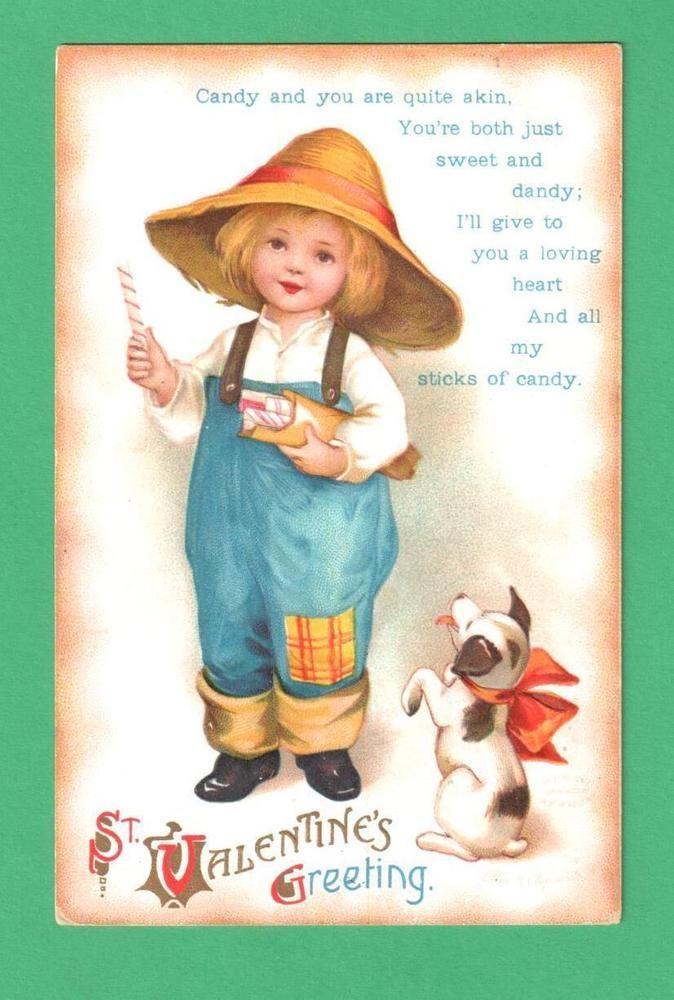 VINTAGE ELLEN CLAPSADDLE VALENTINE POSTCARD CHILD HAT PATCHED PANTS DOG CANDY