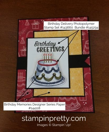 Birthday Delivery Stamp Set & Birthday Friends Framelits Birthday Card.  Mary Fish, Stampin' Up! Demonstrator.  1000+ StampinUp & SUO card ideas.  Read more https://stampinpretty.com/2017/07/stampin-up-birthday-delivery-birthday-card.html