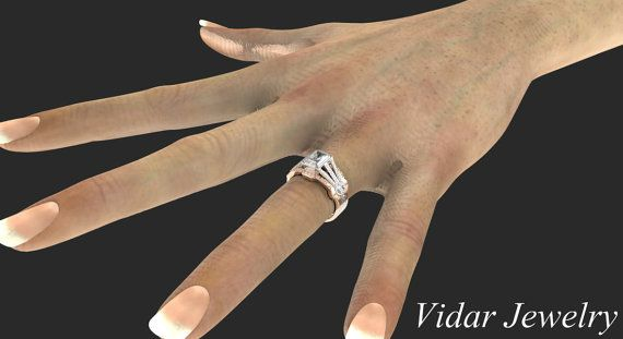 Diamond Radiant Cut Engagement Ring SetUnique Two by Vidarjewelry
