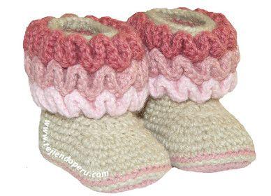 Tutorial: botitas con ondas para bebes (wiggle crochet baby booties free tutorial)