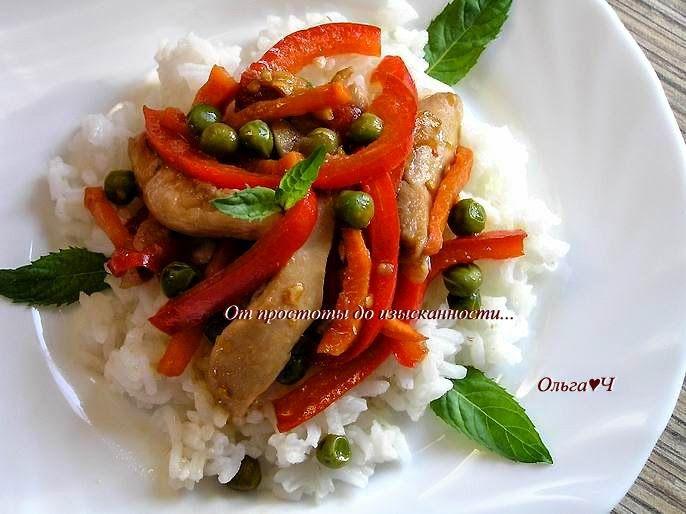 От простоты до изысканности...: Соте из курицы с овощами и мятой