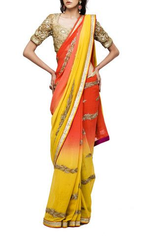 Yellow and orange double shaded hand embroidered saree – Panache Haute Couture