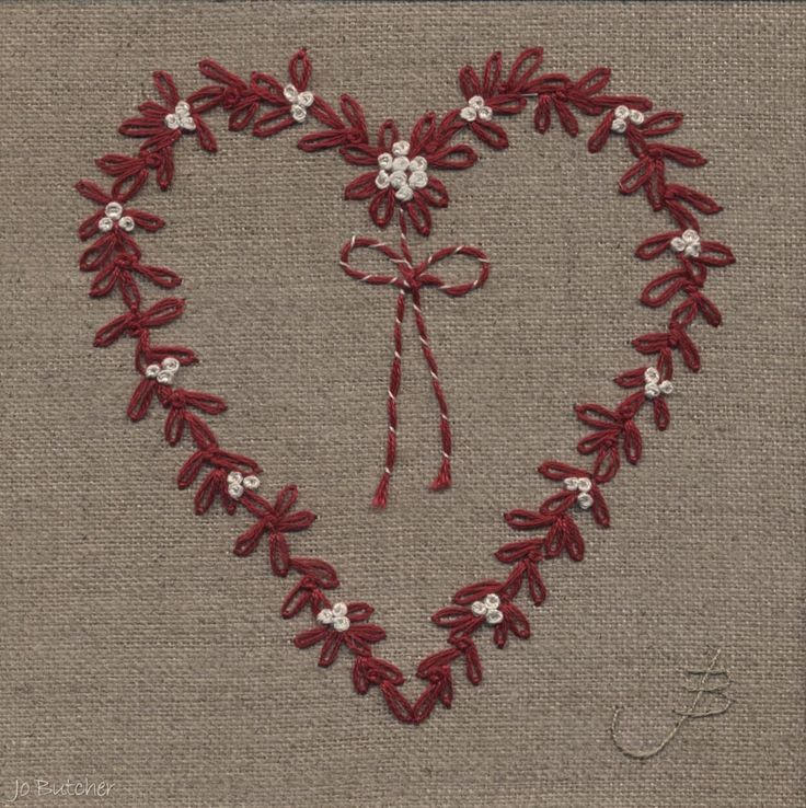 Embroidery stitches heart makaroka