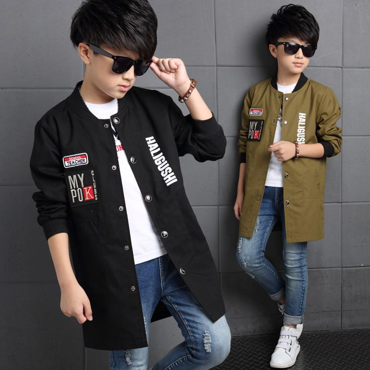 Boys Trench Coat Autumn New Long Sleeve Outerwear Kids Windbreaker Boys Children Trench Coat Fashion Active Outerwear Clothes