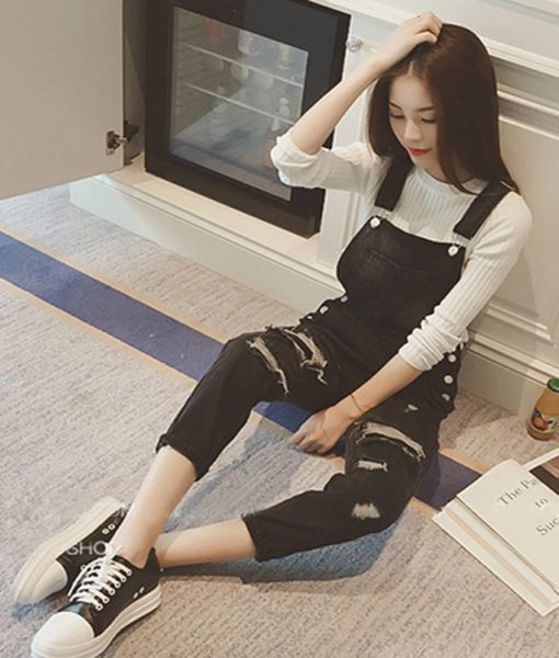 8f1b46950e Woman Casual Denim Jumpsuit Black Ripped Women s One Piece Bodysuit Pocket  Ladies Ankle-length Jeans Overalls M31 body feminino – Best Bargains At  Good ...