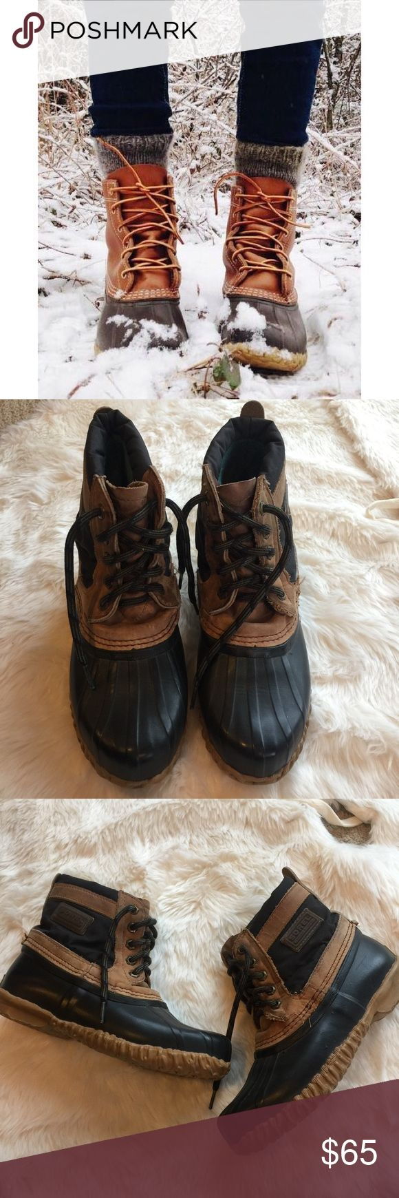 Vintage Sorel Duck Boots AMAZING VINTAGE Sorel Duck Boots. These boots are so cute and comfortable! Perfect for camping, hiking, fishing, or bonfire nights! These boots are pre-loved and have some flaws due to their age but they still have a lot of life left in them! Size 7 Sorel Shoes Winter & Rain Boots