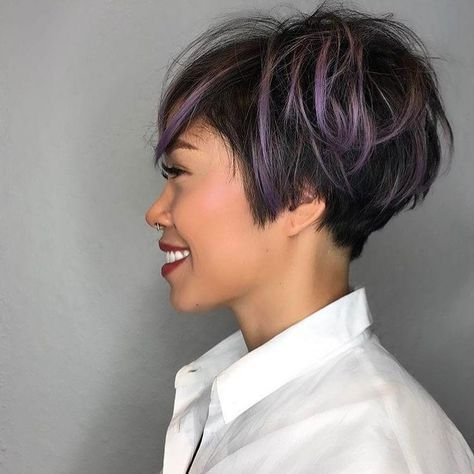 All Sizes Messy Graduated Pixie On Black Hair With Purple Highlighted Fringe Flickr Photo Sharing Purple Hair Highlights Hair Styles Hair Highlights