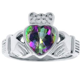 Mystic Topaz Birthstone Heart Irish Claddagh Symbol Wedding Ring In White Gold Gemologica.com offers a unique simple selection of #handmade #fashion #fine #jewelry for #men #women #children to make a statement. We offer #earrings #bracelets #necklaces #pendants #rings #accessories with #gemstones #diamonds #birthstones available in Sterling #Silver 10K 14K 18K #yellow #rose #white #gold #titanium silver #metal. Shop Gemologica jewellery now for cool cute design ideas