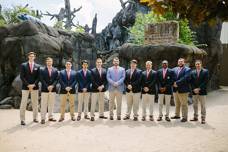 Groom and groomsmen in khaki pants and navy jackets with coral ties.   Wedding at Zoo Knoxville by Knoxville Wedding Photographer, Blush Creative Photography