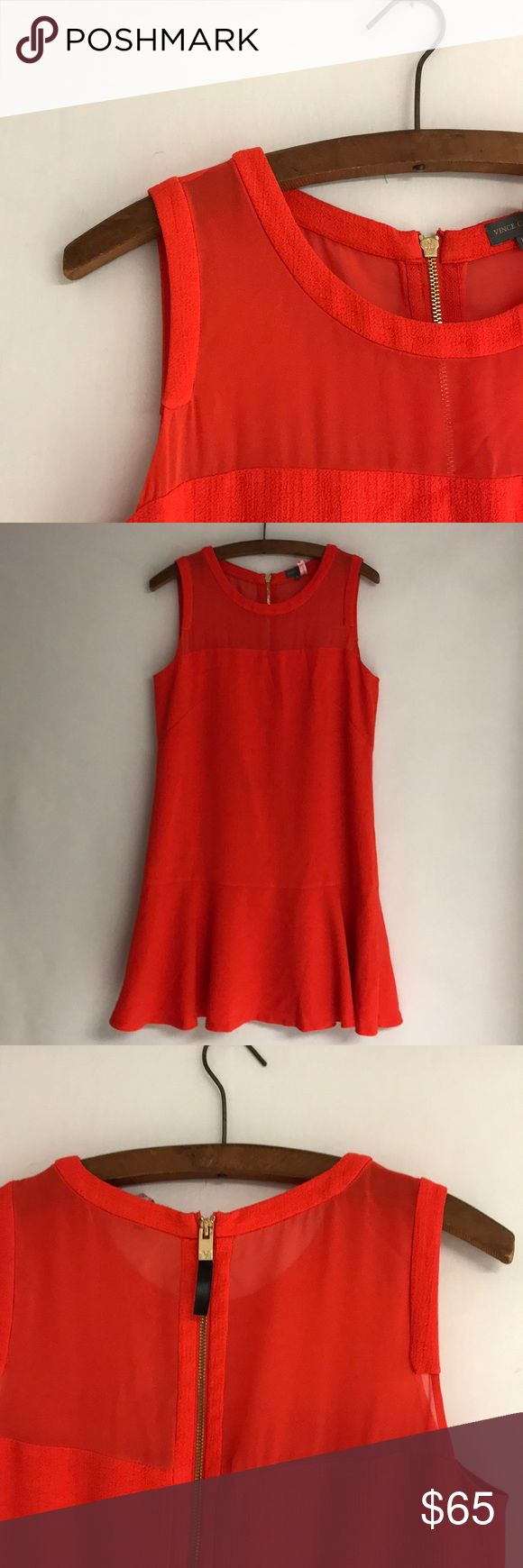 """VC Raffle Shift Dress Shift Textured Dress. Orange fabric, sheer top sleeveless, and ruffle hem design a versatile dress. - round neck -Back exposed zip closure - Lined - Approx. 35"""" length  - Imported Fiber Content Shell/lining: Poly/spandex True 10 Gorgeous!!! In great condition Wore only once (already dry cleaner). Vince Camuto Dresses Midi"""
