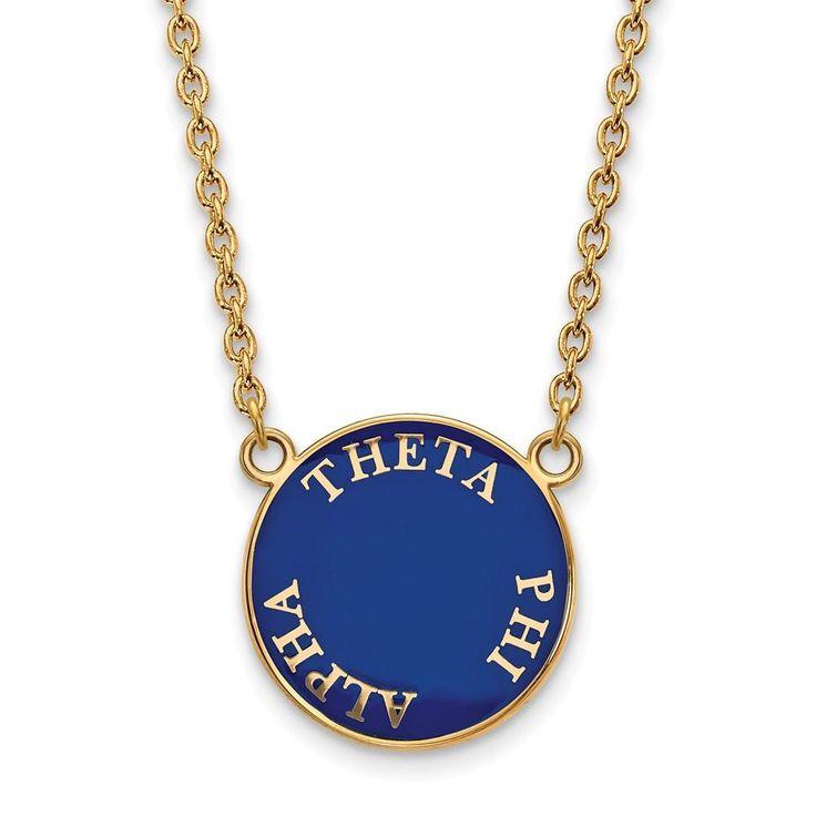 Sterling Silver w/GP LogoArt Theta Phi Alpha Small Enl Pend w/Necklace