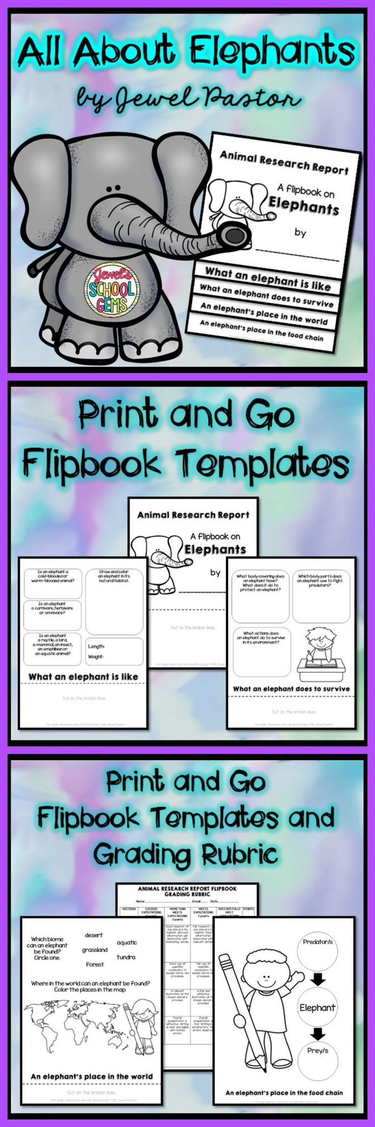 "Elephants : Elephants Research Flipbook  ALL ABOUT ELEPHANTS  ""ALL ABOUT ELEPHANTS"" is a six-page resource that consists of the following: * 5 pages of black and white templates that can be used to create a research report flipbook on elephants * a grading rubric"