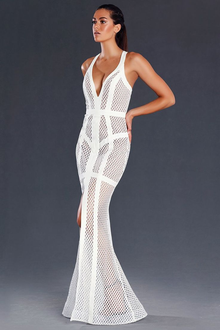 Miss Runway Fashion - Taylor Mesh Formal Gown - White