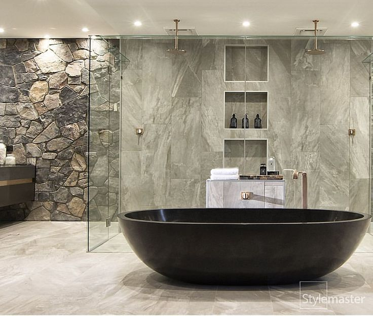 Queensland builders @StylemasterHome has simply blown us away with their stunning new display home #IconaDisplayRochedale. The juxtaposition of various textures, colours and materials come together in the most harmonious way imaginable and culminate in an explosion of awe! Featuring an Apaiser Haven Bath, Sanctum 700 Apaiser Basins, Pinch tapware, Strata Showers, Eon Towel Rails and Vitra Toilets all from #Rogerseller. #bathroom #luxuryhome #luxurybathroom #archiproducts #archidaily…