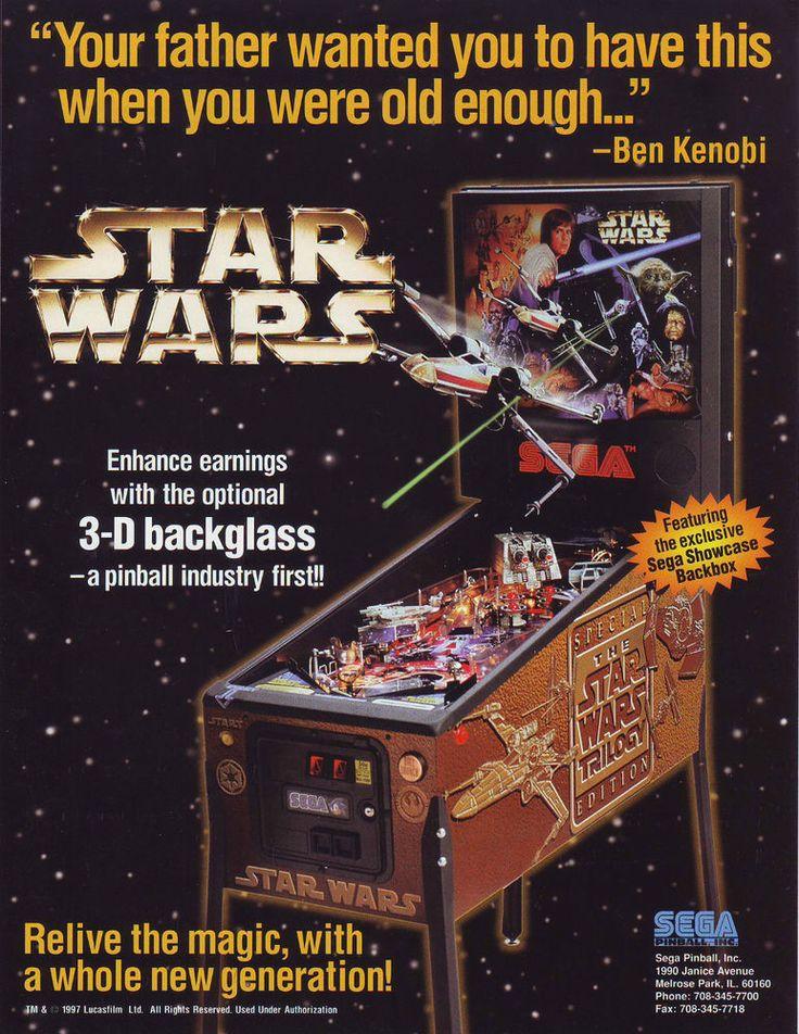 Sega STAR WARS TRILOGY Original 1997 Flipper Pinball Machine Promo Sales Flyer #SegaStarWarsTrilogy