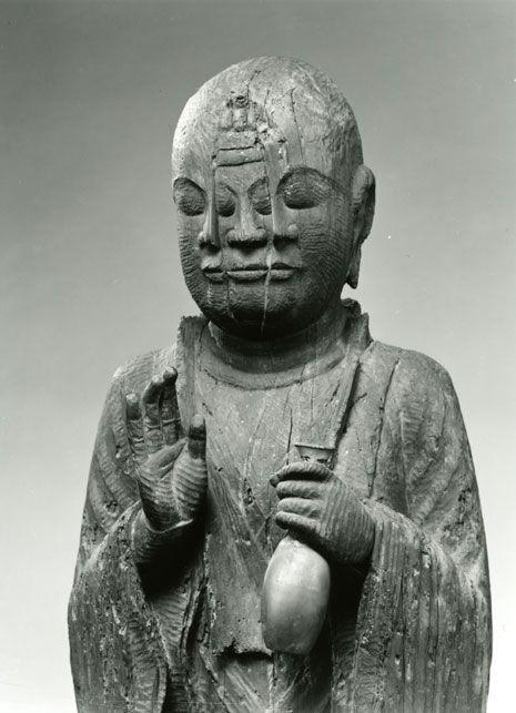 Hoshi-wajo standing wooden statue. 11th century, Japan