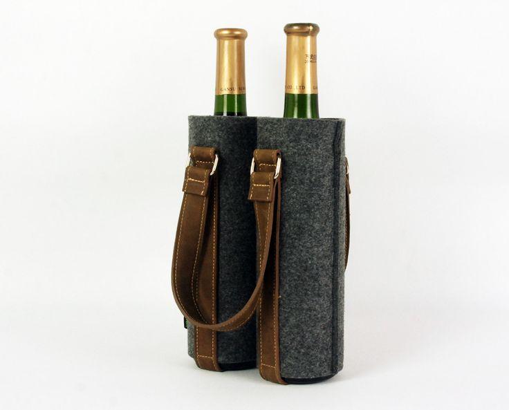 Rustic leather Felt Double Wine bag, Wine box,  Fabric wine bag, Household Storage, shopping bag, wine gift bag, bottle bag 1755. $25.00, via Etsy.