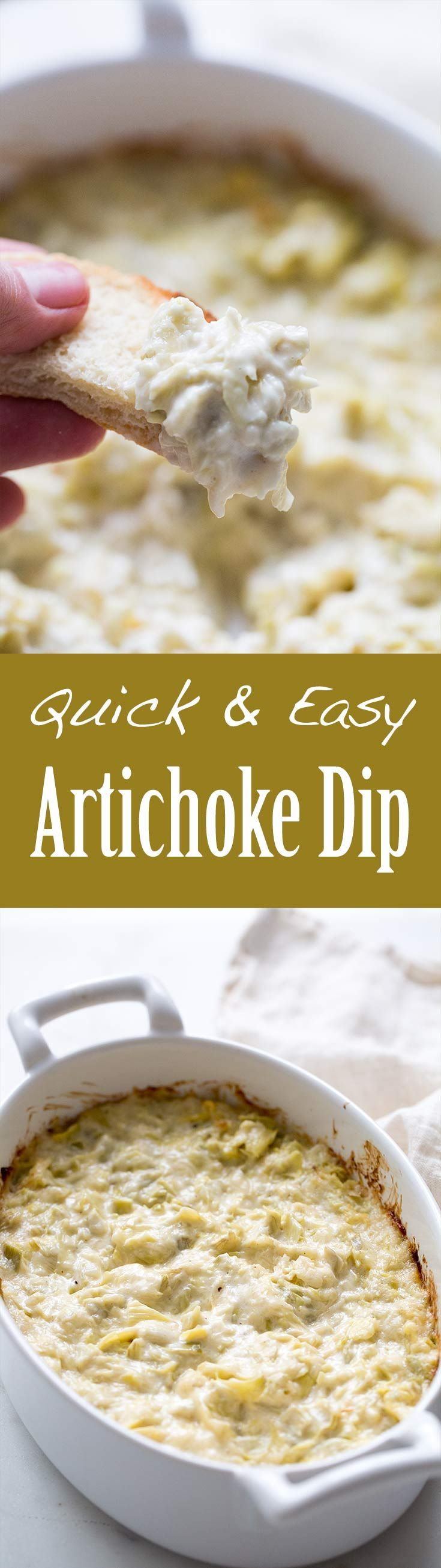 Quick and Easy Artichoke Dip ~ Quick easy hot artichoke dip with artichoke hearts, Parmesan, mayo, salt, pepper ~ SimplyRecipes.com