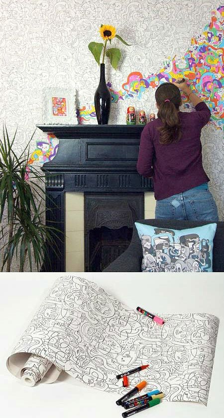 Interactive Walls for Kid Spaces-color in wall paper-way cool! great blog post