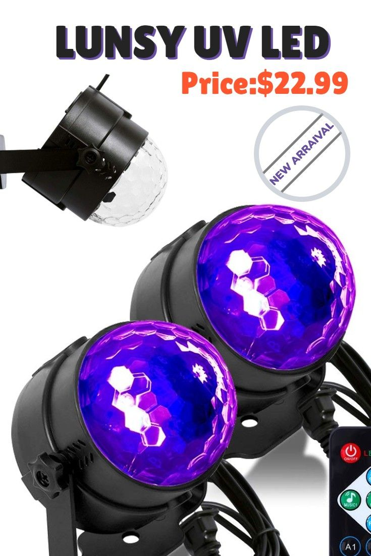 Lunsy Uv Led Black Light 3w Disco Ball Party Lights Sound Activated With Remote Control Dj Lighting 7 Modes Stage Par Light F Party Lights Dj Lighting Uv Led