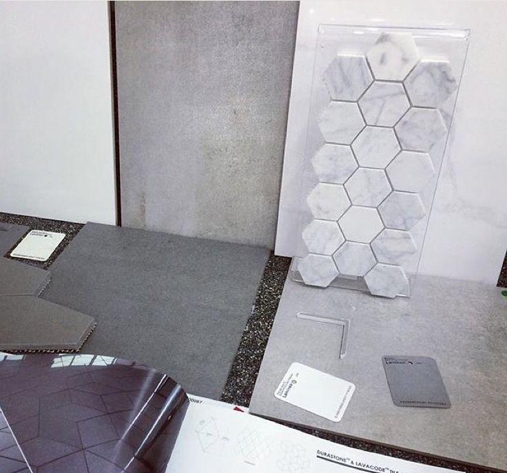 Beaumont Tiles Selection. Grey. Love the hexagon details
