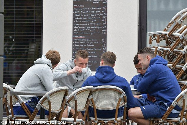 Vardy sips from a cup with England's opening Euro 2016 fixture against Russia now just thr...
