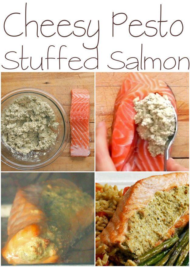 Cheesy Pesto Stuffed Salmon | This Cheesy Pesto-Stuffed Salmon Is So Easy To Make For Dinner