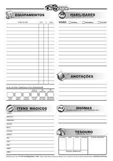 RPG do PC: OLD DRAGON - Ficha de Personagem com MAGIAS - versão 1.75