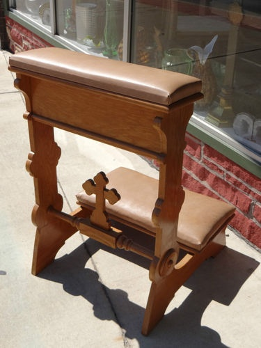 CATHOLIC ANTIQUE VICTORIAN EAST LAKE  ALTAR CHURCH SHRINE WOOD KNEELER