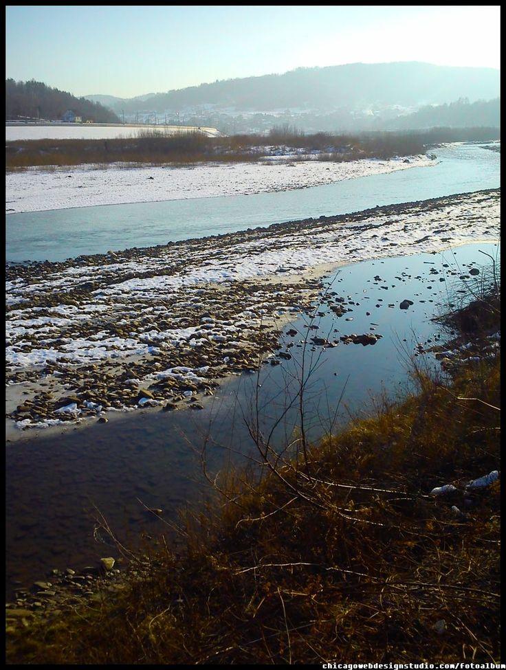 Skawce - Tarnawa Dolna - rzeka Skawa - zima #Skawa #Polska #Poland #małopolskie #powiat-suski #Beskidy #Tarnawa-Dolna #Skawce #Zembrzyce #Zarębki #zalew #zapora #Jezioro-Mucharskie #Mucharz #zapora-w-Świnnej Porębie #rzeka-Skawa