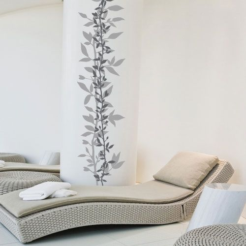 Wall Decal Layers Of Leaves Dark Grey