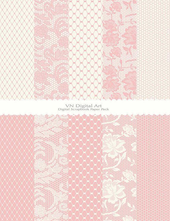 "Digital Paper, Lace & Mesh Digital Scrapbook Paper Pack (8.5x11""-300 dpi) -- Instant Download -- 10 Digital papers -- 404"