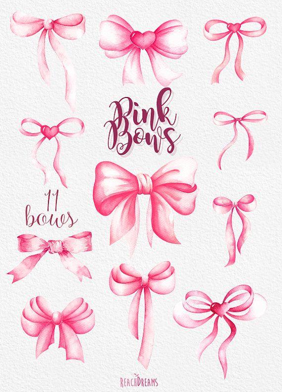 Pink Bows Watercolor Handpainted Clipart heart silk от ReachDreams