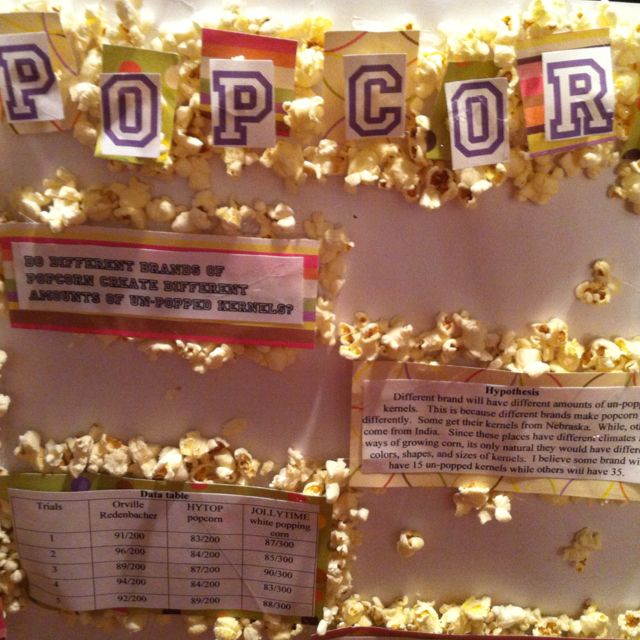 Kelly S Popcorn Science Fair Project