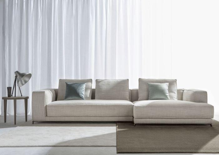 modulares Ecksofa mit Schlaffunktion-Christian, Weißer Stoffbezug
