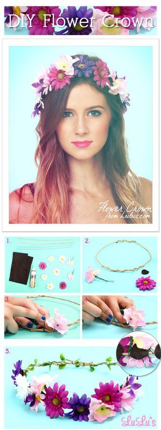 diy flower crown from Lulu's blog  http://www.lulus.com/blog/fashion/diy-floral-crown.html