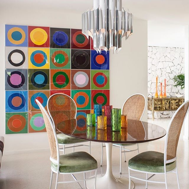 Dream in color -- dine in color! The vibrant dining room in my Thunderbird Heights project.