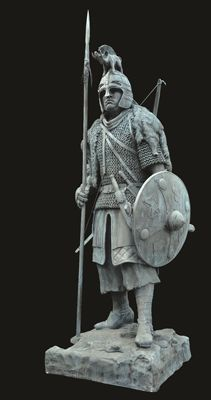 A 9-foot statue of a Saxon warrior displaying most of the items discovered within the St…