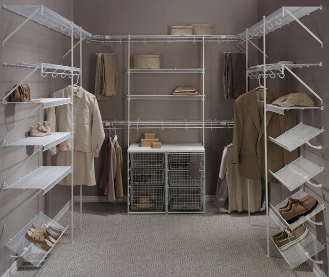 White Wire Walk In Closets Upper And Lower Hanging Sections Pull Out Baskets  Shoe Shelves Wrap