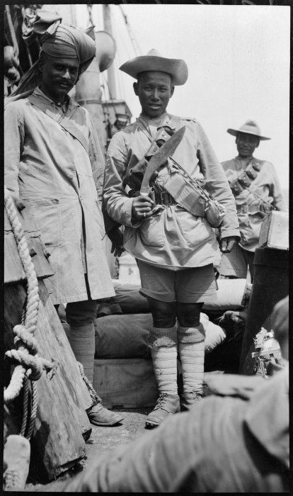 Photograph of a Sikh and a Gurkha soldier on board World War I troop ship at Gallipoli, Turkey, taken in 1915 by Ernest Northcroft Merrington.