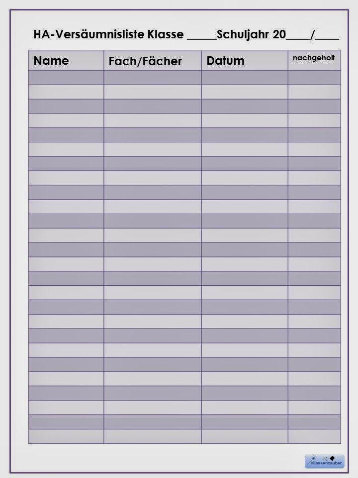 Klassenzauber: Klassenlisten